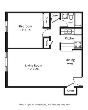 1 Bedroom Floor Plan. Lake Point Terrace Apartments. Madison, WI.