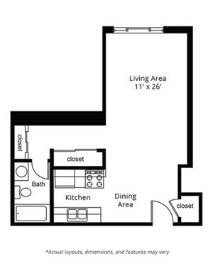 Studio Floor Plan. Lake Point Terrace Apartments. Madison, WI.