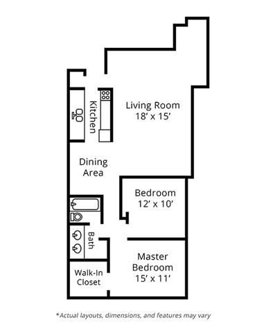 1 Bedroom Floor Plan.  Brighton Square Apartments.  Madison, WI.