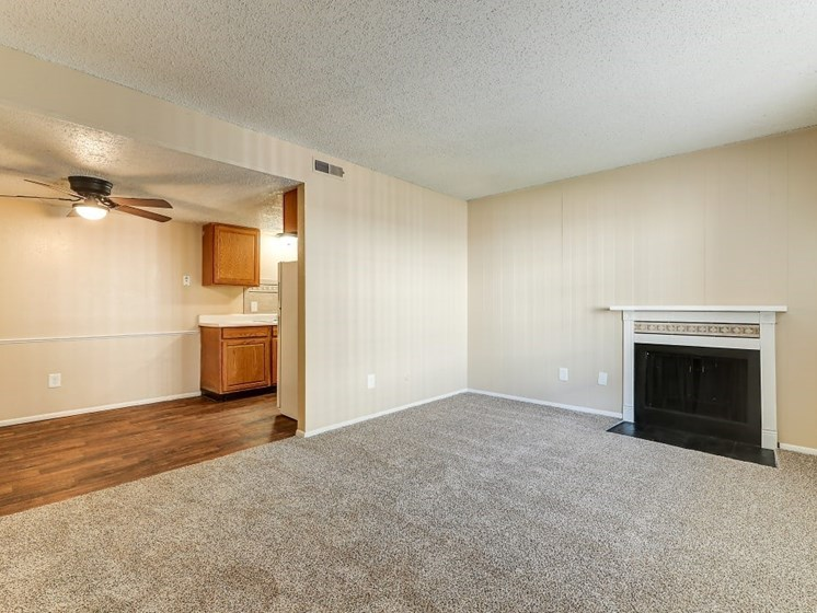 1/bedroom with Fireplace at Hearth Hollow Apartments in Derby, KS
