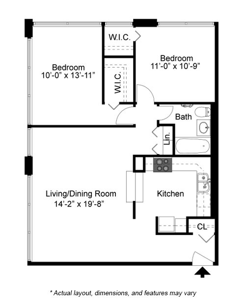 2 Bedroom floor plan at 2101 S. Michigan Apartments