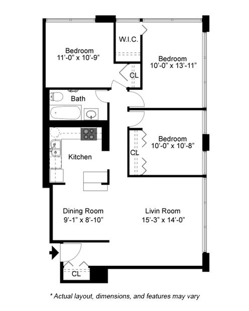 3 Bedroom floor plan at 2101 S. Michigan Apartments