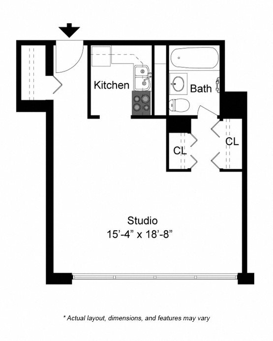Studio floor plan at 2101 S. Michigan Apartments