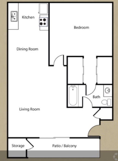 1 bedroom, 1 bath Floor Plan 3