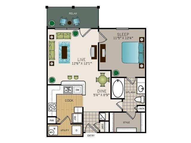 One bedroom, one bathroom, one walk in closet, laundry room, hvac room, pantry, living room, kitchen Phase I Garden A1 floor plan, 672 square feet.
