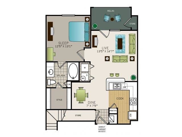 One bedroom, one bathroom, one walk in closet, laundry room, hvac room, pantry, living room, kitchen Phase I Garden A2 floor plan, 749 square feet.