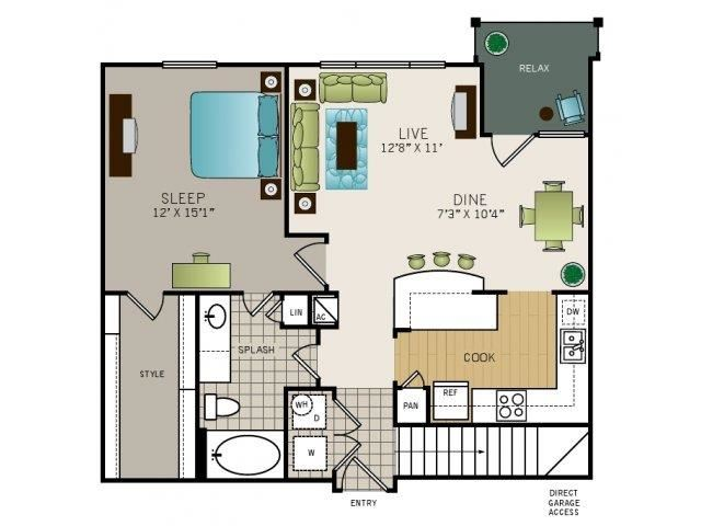 One bedroom, one bathroom, one walk in closet, laundry room, hvac room, pantry, living room, kitchen Phase I Garden A4 floor plan, 847 square feet.