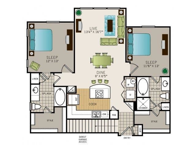 Two bedroom, two bath, kitchen, pantry, coat closet, living/dining room, two walk in closets, linen closet and laundry room. Phase I Garden B1, 1137 square foot.