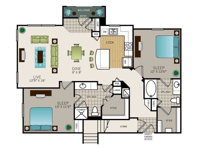 Two bedroom, two bath, kitchen, pantry, coat closet, living/dining room, two walk in closets, linen closet and laundry room. Phase I Garden B2, 1189 square foot.
