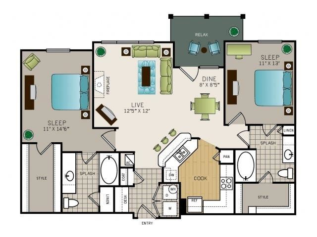 Two bedroom, two bath, kitchen, pantry, coat closet, living/dining room, two walk in closets, linen closet and laundry room. Phase I Garden B3, 1148 square feet.
