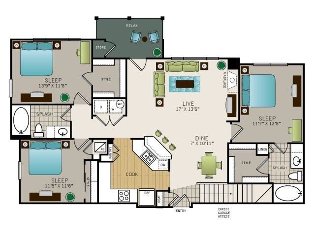 Three bedroom, two bathroom, Kitchen, dining room, living room, laundry room, patio with storage, 3 walk in closets. Phase I Garden C1 floor plan, 1316 square feet.