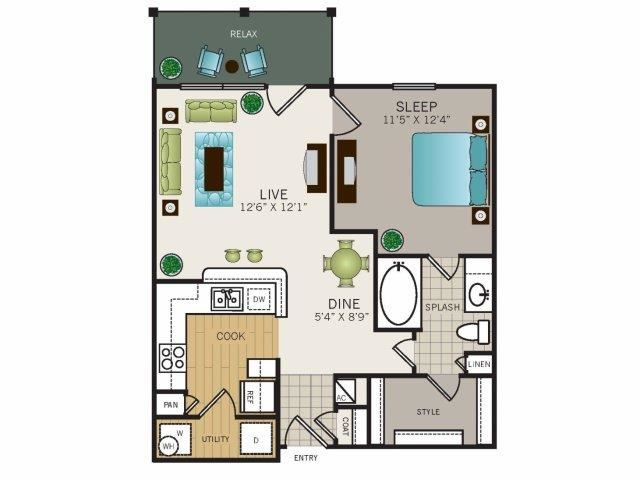 One bedroom, one bathroom, one walk in closet, laundry room, hvac room, pantry, living room, kitchen Phase II Garden A1 floor plan, 676 square feet.
