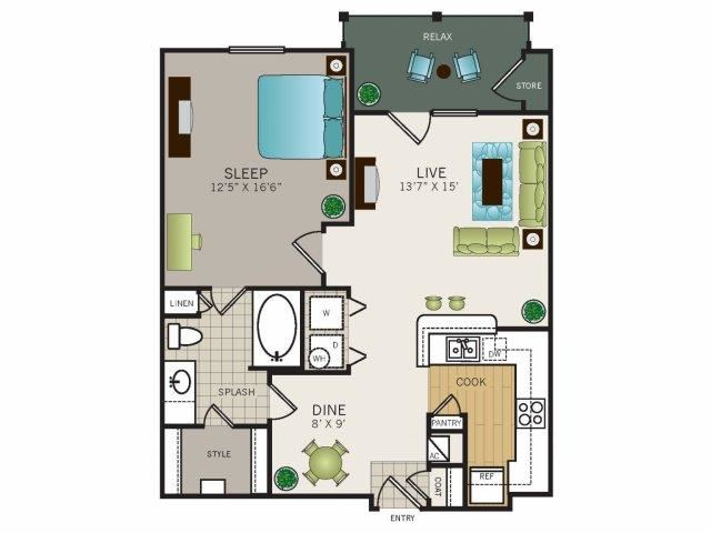 One bedroom, one bathroom, one walk in closet, laundry room, hvac room, pantry, living room, kitchen Phase II Garden A2 floor plan, 787 square feet.
