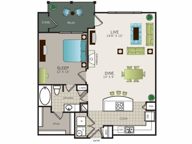 One bedroom, one bathroom, one walk in closet, laundry room, hvac room, pantry, living room, kitchen. Phase II Garden A3 floor plan, 864 square feet.