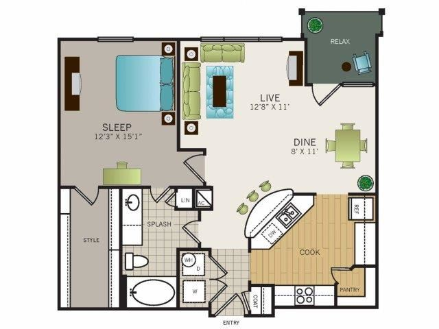 One bedroom, one bathroom, one walk in closet, laundry room, hvac room, pantry, living room, kitchen Phase II Garden A4  floor plan, 900 square feet.