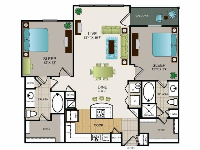 Two bedroom, two bath, kitchen, pantry, coat closet, living/dining room, two walk in closets, linen closet and laundry room. 1088 square feet Phase II Garden B1 floor plan.