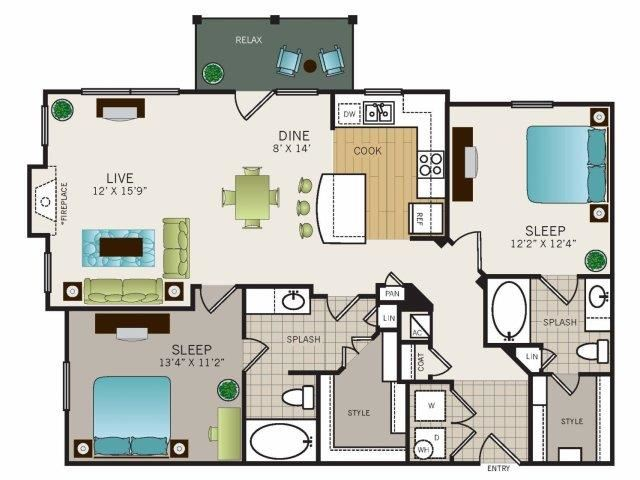 Two bedroom, two bath, kitchen, pantry, coat closet, living/dining room, two walk in closets, linen closet and laundry room. 1172 square feet Phase II Garden B2 floor plan.