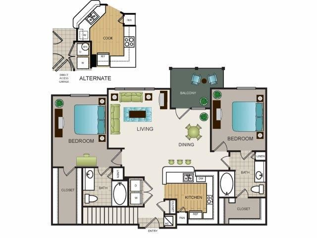 Two bedroom, two bath, kitchen, pantry, coat closet, living/dining room, two walk in closets, linen closet and laundry room. 1156 square feet Phase II Garden B3 floor plan.
