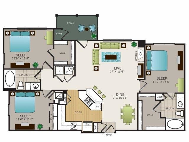 Three bedroom, two bathroom, Kitchen, dining room, living room, laundry room, patio with storage, 3 walk in closets. Phase II C1 floor plan, 1370 square feet.