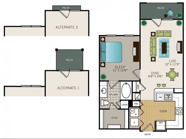 One bedroom one bath, kitchen, kitchen pantry, living room, dining room, laundry room, one closet, A1 floor plan, 700 square feet.