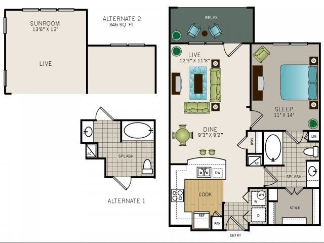 One bedroom one bath, kitchen, kitchen pantry, living room, dining room, laundry room, one closet, A2 floor plan, 746 square feet.