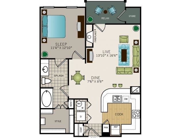 One bedroom one bath, kitchen, kitchen pantry, living room, dining room, laundry room, one closet, A3 floor plan, 793 square feet.