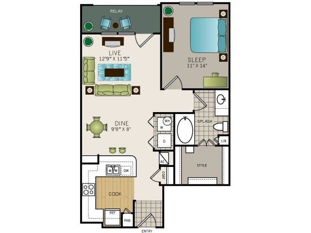 One bedroom one bath, kitchen, kitchen pantry, living room, dining room, laundry room, one closet, A5 floor plan, 786 square feet.