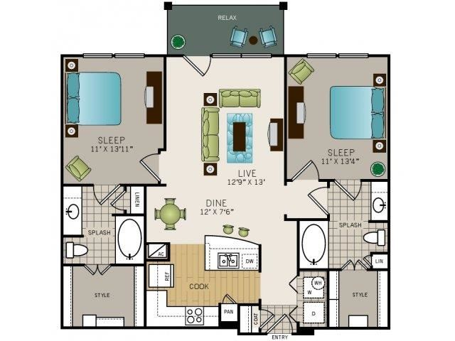 Two bedroom, two bath, kitchen, pantry, coat closet, living/dining room, two walk-in closets, linen closet and laundry room. 1084 square feet B1 floor plan.