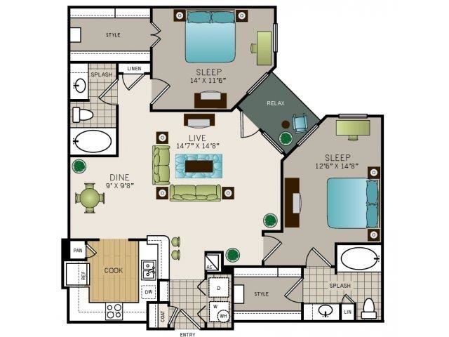 Two bedroom, two bath, kitchen, pantry, coat closet, living/dining room, two walk-in closets, linen closet and laundry room. 1163 square feet B2 floor plan.