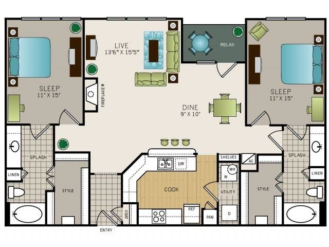 Two bedroom, two bath, kitchen, pantry, coat closet, living/dining room, two walk-in closets, linen closet and laundry room. 1342 square feet B3 floor plan.