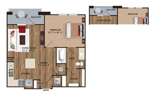 One bedroom, one bathroom, one walk in closet, laundry room, hvac room, pantry, living room, kitchen A1 District floor plan, 653 square feet.