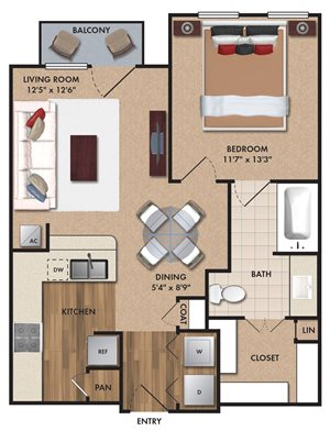 One bedroom, one bathroom, one walk in closet, laundry room, hvac room, pantry, living room, kitchen A1 Bluff floor plan, 675 square feet.