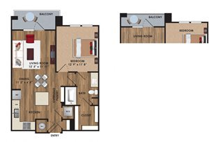 One bedroom, one bathroom, one walk in closet, laundry room, hvac room, pantry, living room, kitchen A2 District floor plan, 720 square feet.