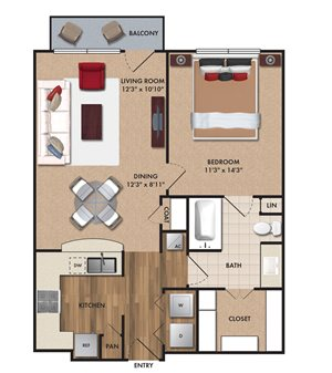 One bedroom, one bathroom, one walk in closet, laundry room, hvac room, pantry, living room, kitchen A2 Bluff floor plan, 746 square feet.
