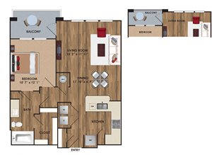 One bedroom, one bathroom, one walk in closet, laundry room, hvac room, pantry, living room, kitchen A3 District floor plan, 768 square feet.