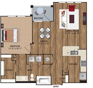 One bedroom, one bathroom, one walk in closet, laundry room, hvac room, pantry, living room, kitchen. A4 District floor plan, 853 square feet.