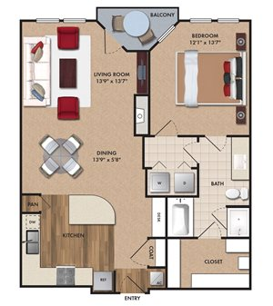 One bedroom, one bathroom, one walk in closet, laundry room, hvac room, pantry, living room, kitchen. A4 Bluff floor plan, 866 square feet.