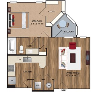One bedroom, one bathroom, one walk in closet, laundry room, hvac room, pantry, living room, kitchen A5 District floor plan, 658 square feet.