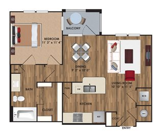One bedroom, one bathroom, one walk in closet, laundry room, hvac room, pantry, living room, kitchen A7 District floor plan, 693 square feet.