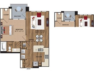 One bedroom, one bathroom, one walk in closet, laundry room, hvac room, pantry, living room, kitchen. A6 District, 908 square feet.