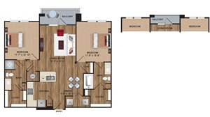 Two bedroom, two bathroom, living room, dining room, kitchen, two walk in closet, laundry room, utility closet, coat closet, and pantry. 1103  square feet B1 District plan.