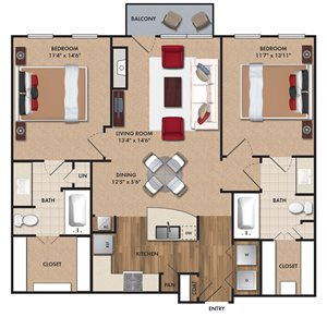 Two bedroom, two bathroom, living room, dining room, kitchen, two walk in closet, laundry room, utility closet, coat closet, and pantry. 1084 square feet B1 Bluff floor plan.