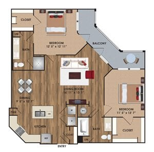 Two bedroom, two bathroom, living room, dining room, kitchen, two walk in closet, laundry room, utility closet, coat closet, and pantry. 1159  square feet B2 District.