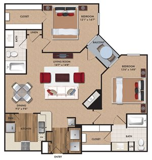 Two bedroom, two bathroom, living room, dining room, kitchen, two walk in closet, laundry room, utility closet, coat closet, and pantry. 1159  square feet B2 Bluff.