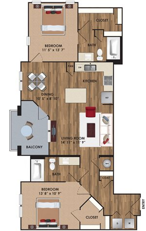 Two bedroom, two bathroom, living room, dining room, kitchen, two walk in closet, laundry room, utility closet, coat closet, and pantry. 1158  square feet B3 District plan.