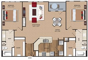 Two bedroom, two bathroom, living room, dining room, kitchen, two walk in closet, laundry room, utility closet, coat closet, and pantry. 1342  square feet B3 Bluff.