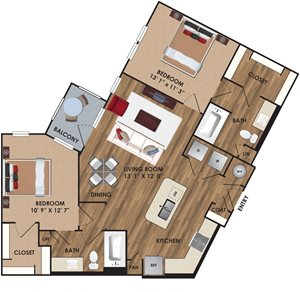 Two bedroom, two bathroom, living room, dining room, kitchen, two walk in closet, laundry room, utility closet, coat closet, and pantry. 1085  square feet B4 District plan.