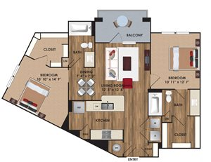 Two bedroom, two bathroom, living room, dining room, kitchen, two walk in closet, laundry room, utility closet, coat closet, and pantry. 1036 square feet B5 floor plan.