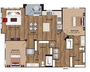 Two bedroom, two bathroom, living room, dining room, kitchen, two walk in closet, laundry room, utility closet, coat closet, and pantry. 1285  square feet B6 District.