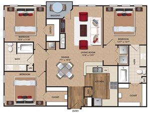 Three bedroom, two bathroom, Kitchen, dining room, living room, laundry room, patio with storage, 3 walk in closets. C1B Bluff, 1447 square feet.